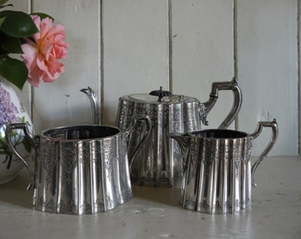 Antique English Silver Plate Afternoon Tea Set