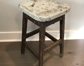 "Vintage Bar Stool, Wooden Bar Stool, Wood Counter Height Stool, Rustic Solid Wood Stool, 24"" Stool, Farmhouse Bar Stool, Wooden Furniture"