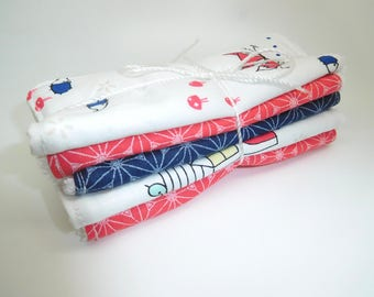 5 great cleansing //motif blue and coral tones or baby wipes //cadeau baby //cadeau woman graphic
