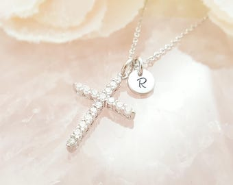 Silver Cross Necklace Crystal - Cubic Zirconia Cross Necklace - Christian Jewelry - Personalized Initial Necklace Disk Stamped N9008