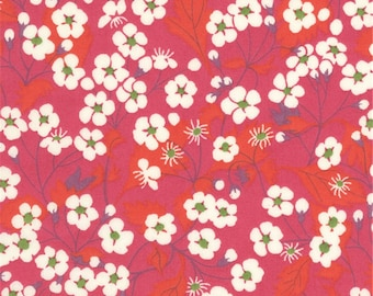 Printed fabric Liberty Mitsi Liberty pink red print