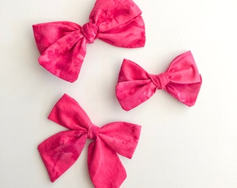 Fabric Callie or Sailor bow - Pink Tie-dyed