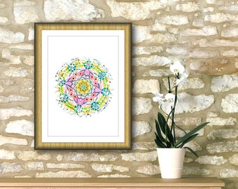 "Digital painting mandala printable instant download 7"" x 7"" geometric roundie, spiritual yoga wall, art print, cheap home wall decor."