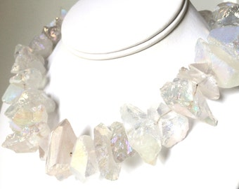 Rock Crystal Quartz Necklace, Quartz Rough Nugget Necklace, Modern Jewlery, AB Finish
