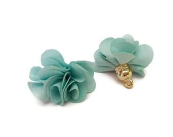 Blue Green fabric tassel