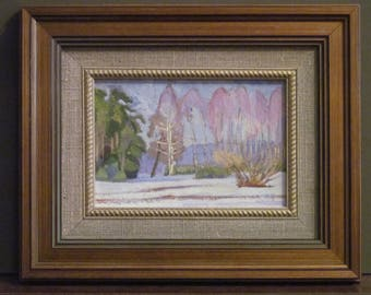 Winter landscape. Plein air. Original
