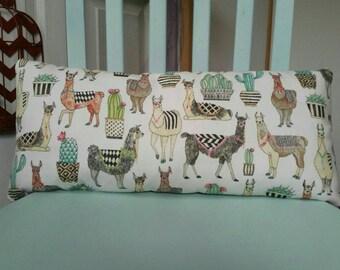 """The """"Peruvian"""" Accent Pillow - Llama, Alpacas, and Cacti; Lumbar Pillow; Novelty Pillow; Toss Pillow"""