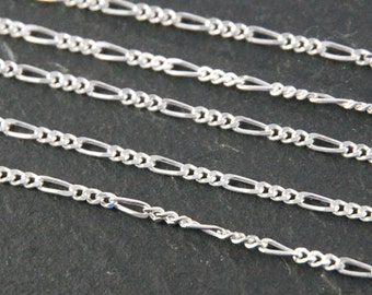 silver Figaro chain - 925 sterling, shiny, unfinished bulk chain with 3 - 1 - 3 - 1 - 3 pattern - diamond cut finish - 1.6 mm width 2100016