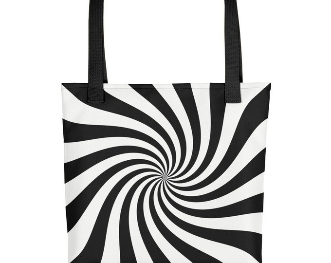 Tote Bag Black and White Pinwheel