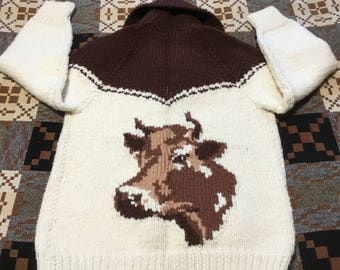 Mid Century Cowichan Sweater With Cow Pattern, Cowichan Steer Pattern Sweater, Cowichan Cattle Sweater