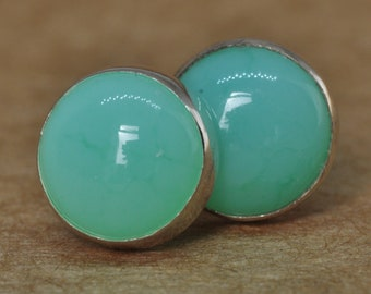 Chrysoprase and Sterling Silver Stud Earrings 8mm
