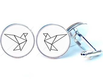Cufflinks - origami - bird glass cabochon