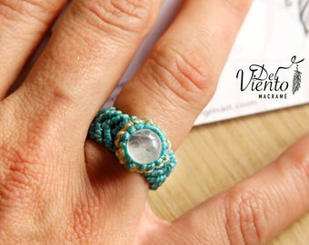 Macrame ring with Moon Stone/macrame ring with moonstone/Bohemian jewelry/Boho/Festival/Goddess