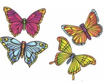 Stained Glass Look Butterflies - Iron On Fabric Appliques