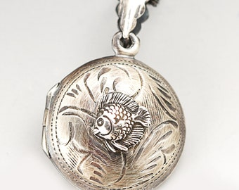 Fish Necklace Women Fish Lover Gifts Fish Locket Compass Locket Sterling Silver Compass Necklace Fish Lover Fish Necklace