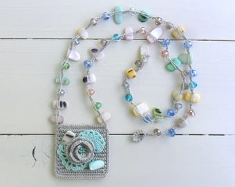 crocheted necklace with beads, floral necklace, grey and green, spring and summer jewelry, romantic look, boho chic, gift for her