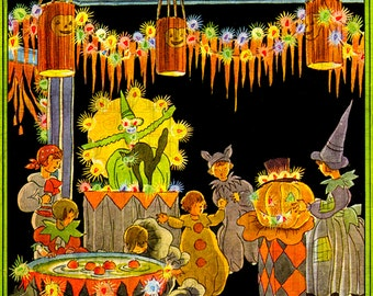 Rare Rare  RARE.  Vintage Vivid 1920s Stunning Halloween Party.  HALLOWEEN Digital Download. Halloween VINTAGE  Illustration.