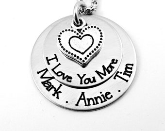 I Love You More Necklace -  - Mom Mother Grandma Gift -  Personalized Custom Names