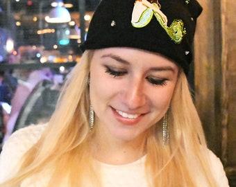 Mermaid Cotton Hat Lightweight Beanie With Rhinestones