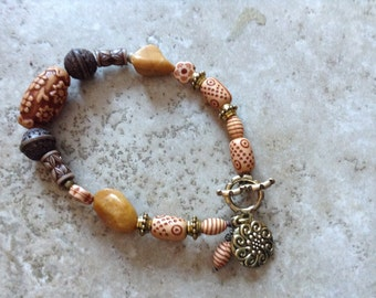 Tribal Charm bracelet with stone accents