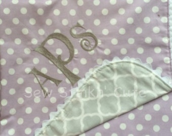 Peeaonalized Monogrammed Embroidered Ric Rac edged Blanket