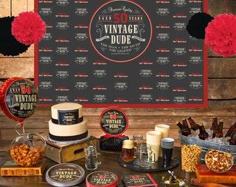 Vintage Dude Personalized Backdrop - Birthday Cake Table Backdrop, Milestone 50th Birthday Backdrop, Custom Photo Backdrop