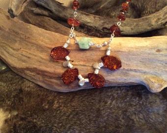 Amber and Aquamarine bib necklace