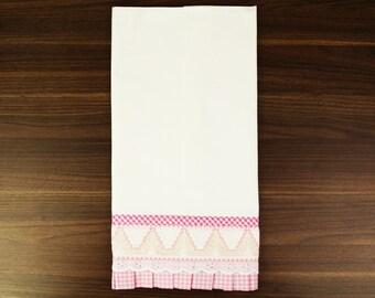 Light Pink Hand Embroidered Tea Towel - Swedish Weaving - UK