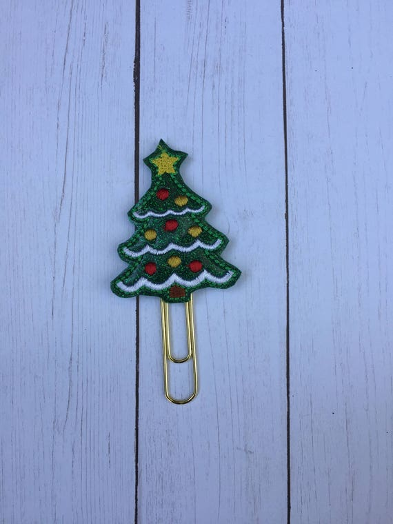 Glitter Green Christmas Tree planner Clip/Planner Clip/Bookmark. Tree planner clip. Christmas planner clip. Holiday planner clip.