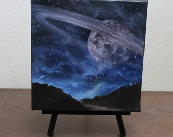 """6x6"""" Mini Original Oil Painting - Planet Mini Painting - Space Wall Art Office Gift"""