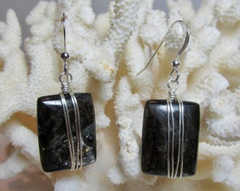 Mica Earrings, Wire Wrapped Mica, Mica Dangle, Sterling Silver, Wrapped Mica Earring, Black,  Earring, Wire Wrapped, Black Dangle, Drop