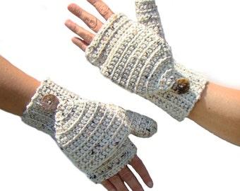 Aran Fleck Mittens, Convertible Fingerless, Mittens, Convertible Gloves, Convertible Mittens, Fingerless Mittens, Glittens, Flip Top Mittens