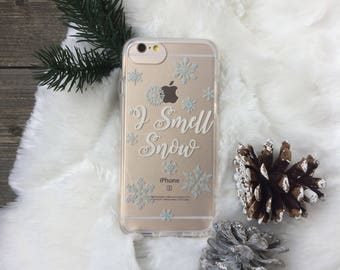 I Smell Snow, Snowflake Phone Case for iPhone 5, SE, 6, 6 Plus, 7, 7Plus, 8, 8 Plus and X. TPU or Wood Options