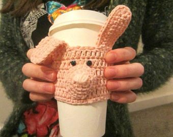 Light Pink Rabbit Cup Cozy, Cup Cosy, Gift for Women, Easter Gift, Coffee Cozy, Coffee Sleeve, Mug Cosy, Tea Cover, Coffee Cup Sleeve