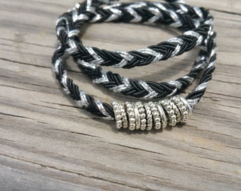 Stackable black and silver wrap bracelet with silver beads