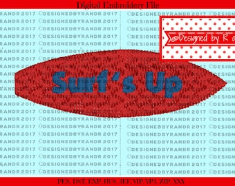 """Surf's Up Embroidery Design 2"""" by 5/8"""" 