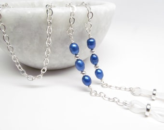 Silver Glasses Chain with Electric Blue Freshwater Pearls, Eyeglasses Chain, Pearl Reading Glasses Chain, Eye Glass Necklace, Glasses Holder