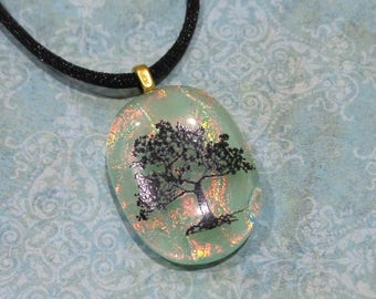 Tree Necklace, Mint Green Fused Glass Pendant, Orange Dichroic, Fused Glass Jewelry, Ready to Ship, Dichroic Jewelry - Tree of Hope -6