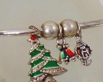Vintage Christmas Charm Bracelet.  Silver Plated Cuff Christmas Charm Bracelet.  Christmas Tree Charm Bracelet. Holiday.