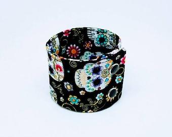 Sugar Skulls Wide Wrist Cuff Bracelet Adjustable Fabric Band Day of The Dead