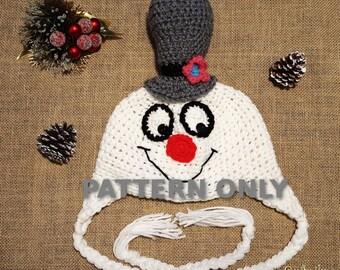 Crochet PDF PATTERN Friendly Snowman Hat- Holiday Crochet Patterns- Christmas Crochet Patterns- Snowman Hat Pattern