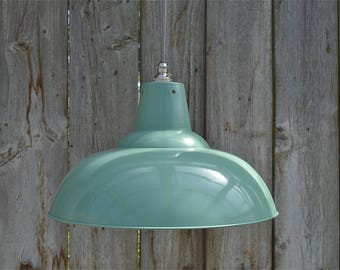 Large French grey/green hanging light pendant shade ceiling lamp factory style industrial BL17SR4