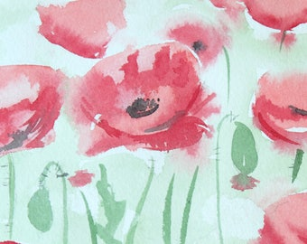 Poppies Art/Red Poppies Painting/Red Poppy Field/Poppy Original Watercolour Painting/Abstract Painting/Nature Art - Gift, Birthday Gift