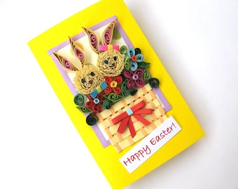 Easter Bunny Card, Easter Rabbits, Happy Easter Card, Homemade Happy Easter Card, Bunny Greeting Card, Quilled Card