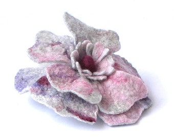 Felted Flower Brooch  Grey Pink  poppy mothers day gift  in the style of boho