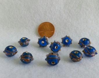 13 pcs Golden Swirls Bumpy Glass Beads