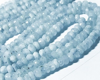 "Aquamarine Gemstone Faceted Rondelles, 5.5mm Semi Precious Gemstone.  2.5"" Strand. (3aq) Last Ones"