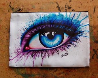 Cosmetic Bag Case | Eye by Carissa Rose | Edgy Colorful Pink and Blue Drippy Splatter Eye Fashion Makeup Pop Art Pencil Pouch Make up Bag