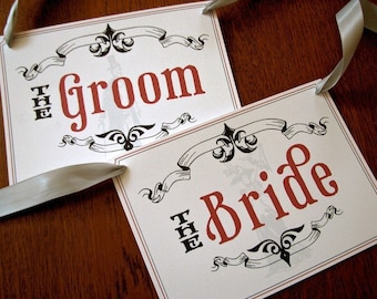 Victorian Bride and Groom Seat Signs Perfect for your wedding