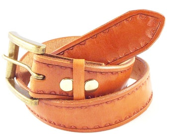 Hand Tooled Leather Belt - Tan
